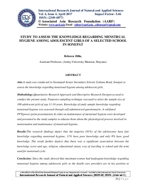 PDF) STUDY TO ASSESS THE KNOWLEDGE REGARDING MENSTRUAL