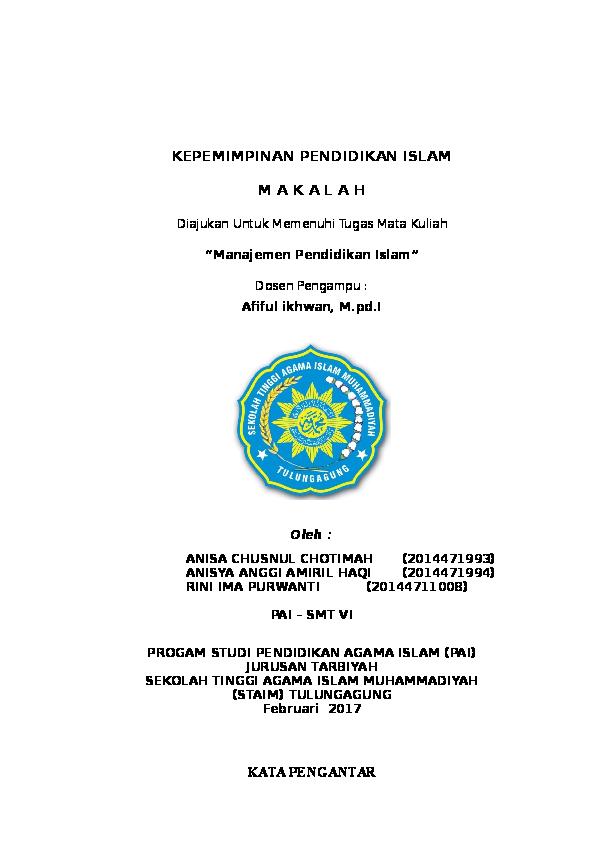 Doc Makalah Kepemimpinan Pendidikan Islam Anisya A Haqi Academia Edu