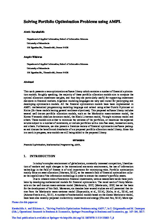 PDF) Solving Portfolio Optimization Problems using AMPL | Alexis