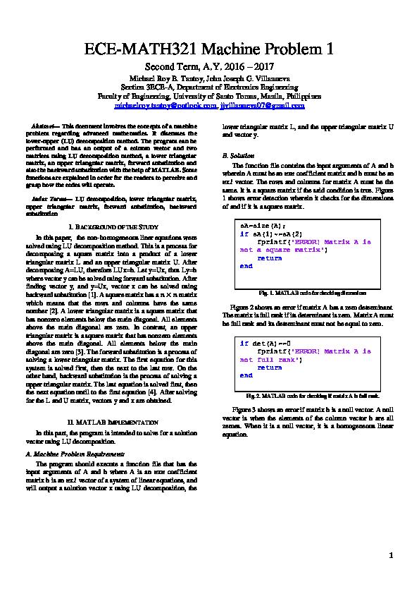 PDF) ECE-MATH321 Machine Problem 1: Application of LU Decomposition