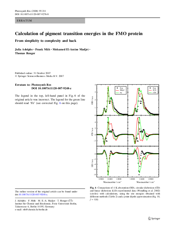 PDF) Calculation of pigment transition energies in the FMO