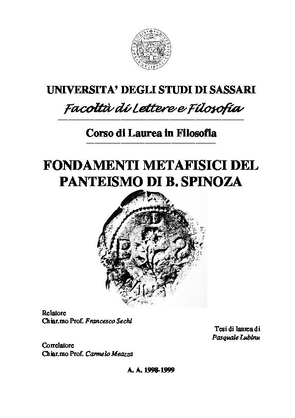 4ad81957d9b PDF) Tesi di Laurea in Filosofia FONDAMENTI METAFISICI DEL PANTEISMO ...