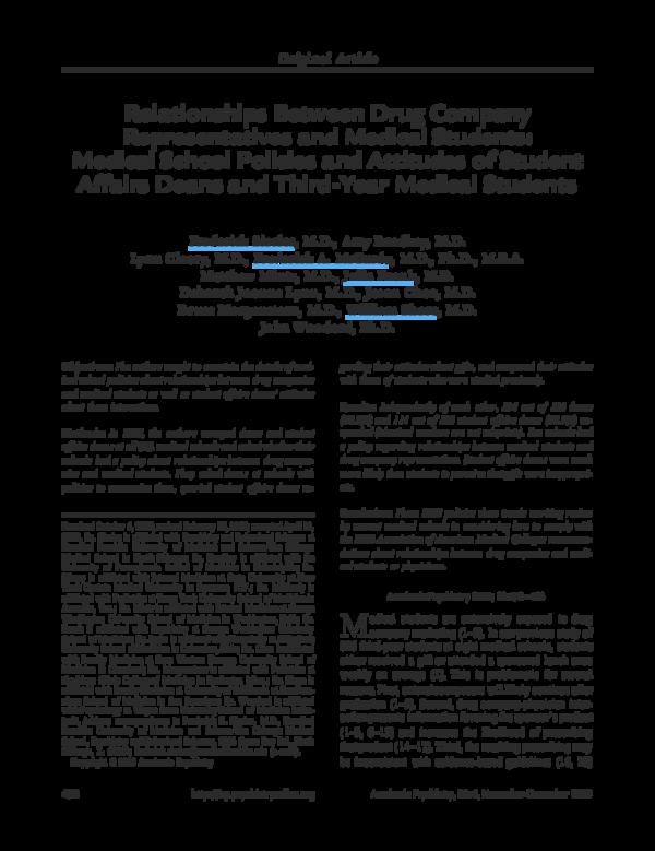 PDF) Relationships Between Drug Company Representatives and