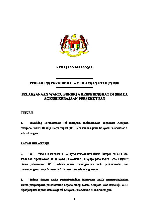 Pdf Pelaksanaan Waktu Bekerja Berperingkat Di Semua Agensi Kerajaan Radhiah Rudzi Academia Edu
