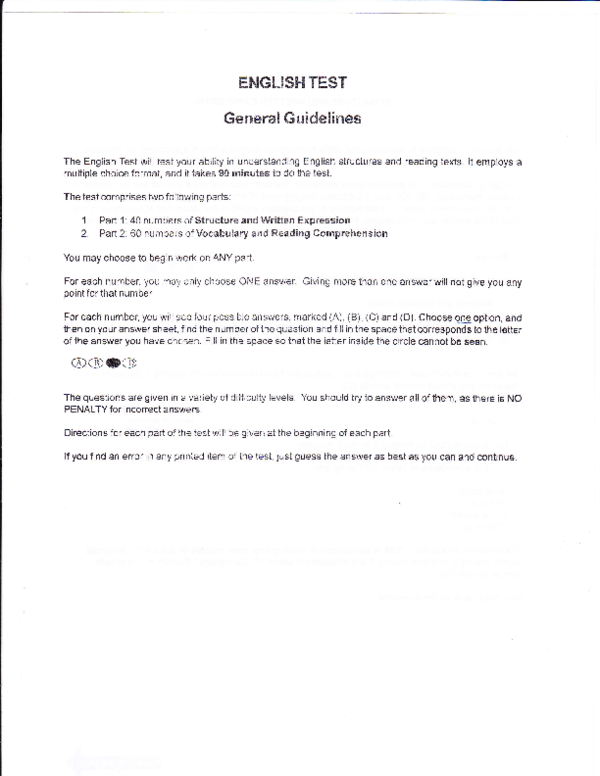PDF) ENGLISH TEST Genenal Guidelines | anang rr - Academia edu