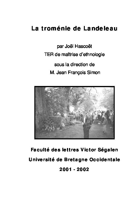 La troménie de Landeleau par Joël Hascoët TER de maîtrise d ... 7a65a39b9946