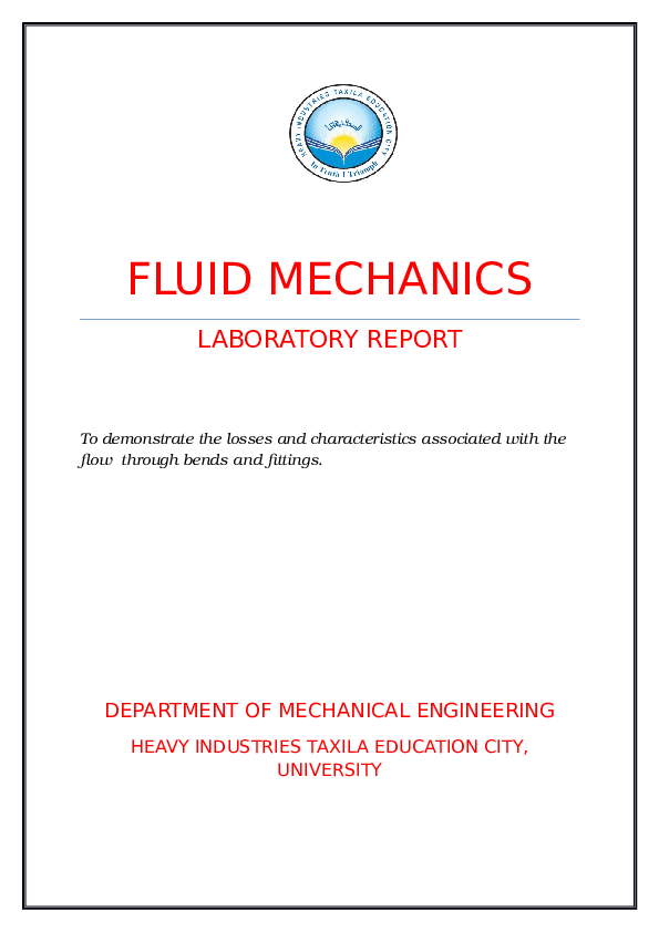 DOC) FLUID MECHANICS LABORATORY REPORT Department of mechanical