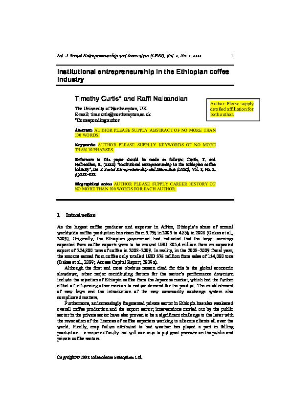 PDF) Institutional entrepreneurship in the Ethiopian coffee