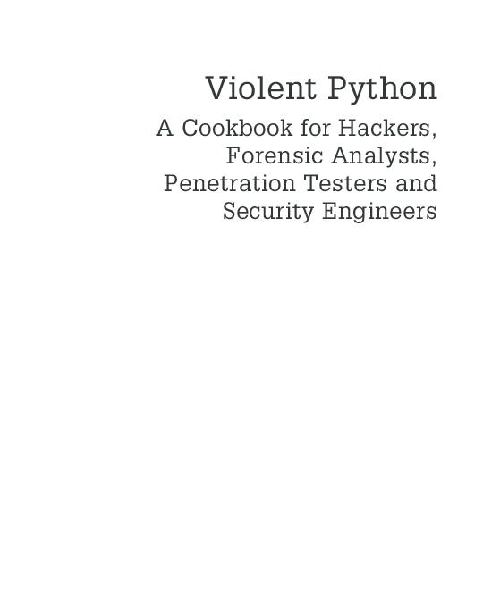 PDF) Violent Python | rodrigo daniel - Academia edu