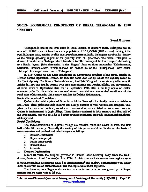 PDF) SOCIO-ECONOMICAL CONDITIONS OF RURAL TELANGANA IN 19 TH