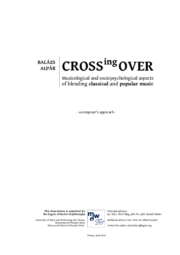 Crossing Over Musicological And Sociopsychological Aspects Of
