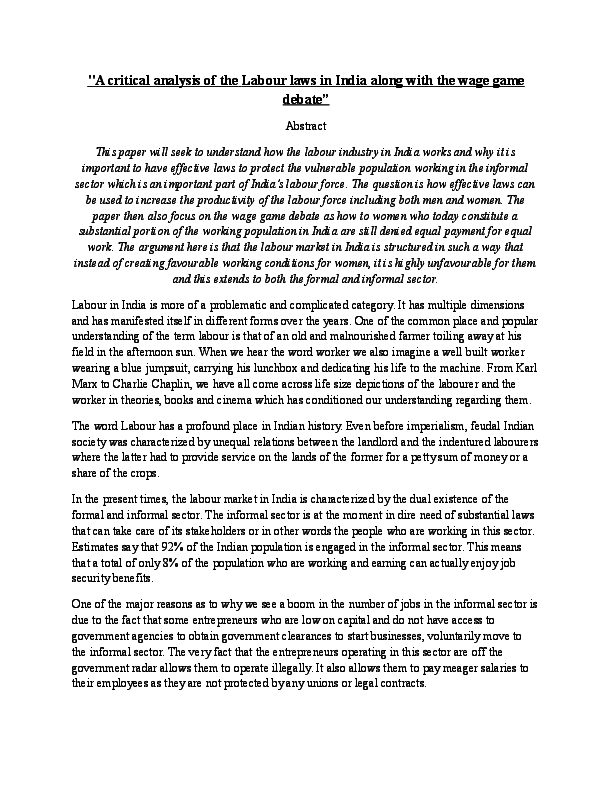Compare And Contrast Essay Topics For High School Students Docx Essay On High School also Proposal Argument Essay Examples A Critical Analysis Of The Labour Laws In Indiadocx  Shivangi  Graduating High School Essay