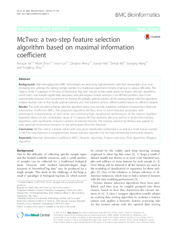 PDF) McTwo: a two-step feature selection algorithm based on maximal