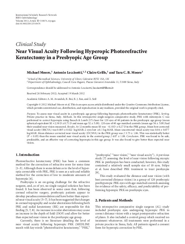 PDF) Clinical Study Near Visual Acuity Following Hyperopic