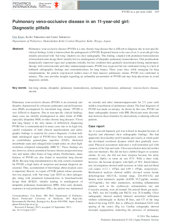 PDF) Pulmonary veno-occlusive disease in an 11-year-old girl