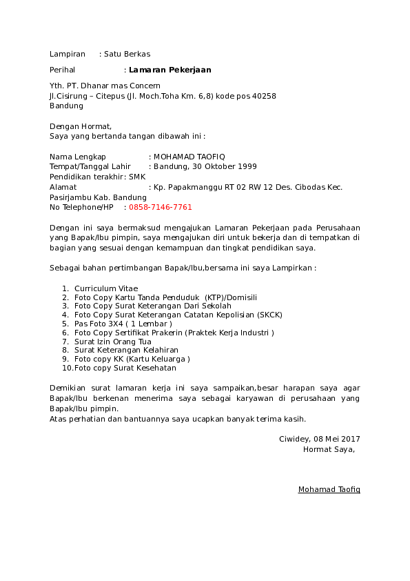 Surat Izin Orang Tua Untuk Bekerja Di Pt