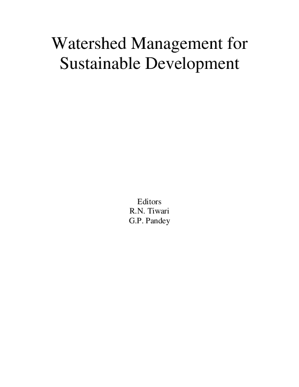 PDF) Watershed Management for Sustainable Development ...