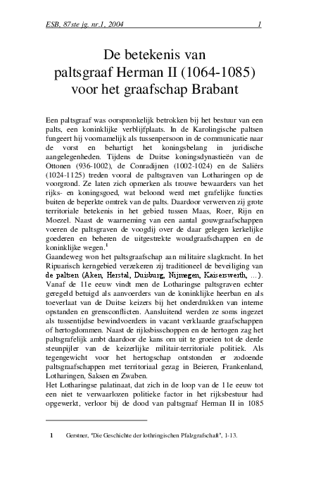 Pdf De Betekenis Van Paltsgraaf Herman Ii 1064 1085 Voor Het