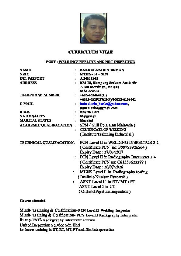 DOC) Bakrulazi Cv Up dated 2016 | amirrul asyraf - Academia edu