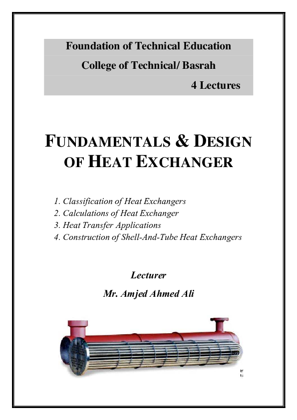 PDF) Heat Exchanger 1 | Mahmoud Saleh - Academia edu