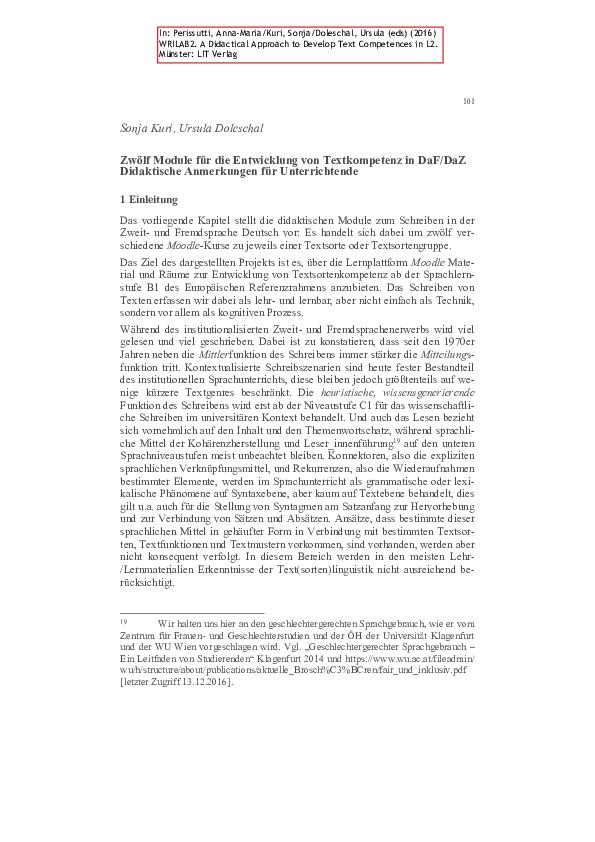 Pdf Zwölf Module Für Die Entwicklung Von Textkompetenz In Dafdaz