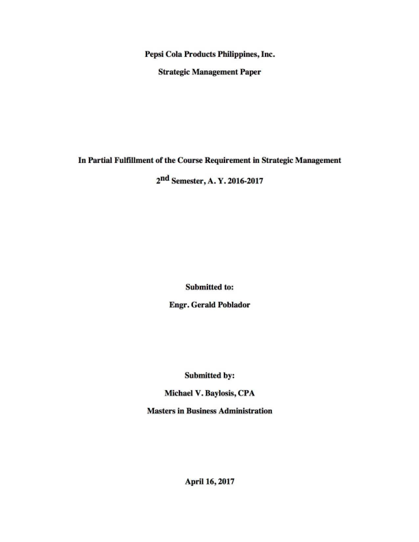 PDF) Strategic Management Paper: Pepsi-Cola Products