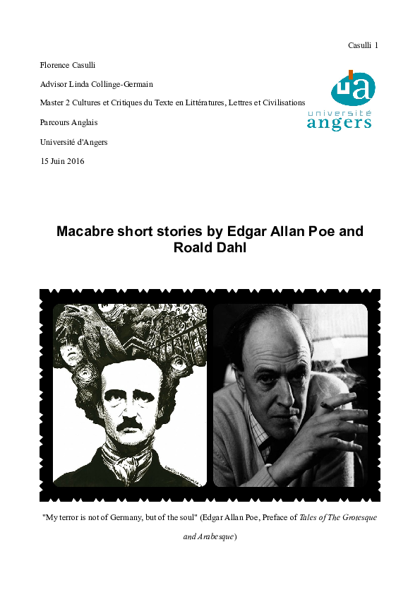 Macabre Short Stories By E Allan Poe And Roald Dahl Florence