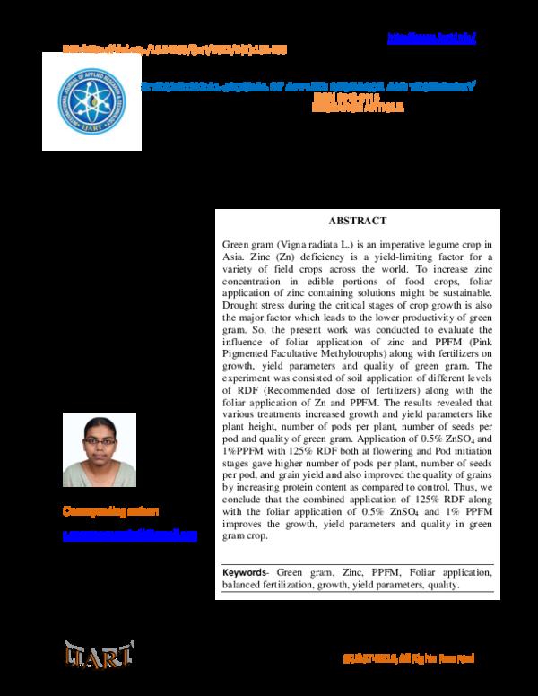 453f3fb3bb5a PDF) Effect of Foliar Application of Zinc and PPFM on Growth