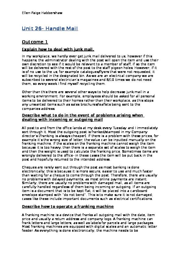 DOC) Unit 26- Handle Mail (All Outcomes) | Ellen-Paige