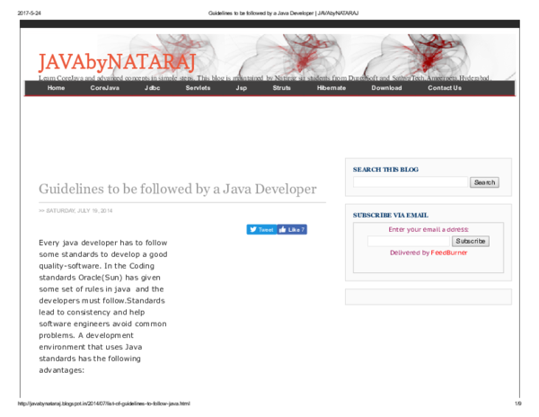 PDF) Guidelines to be followed by a Java Developer JAVAby NATARAJ