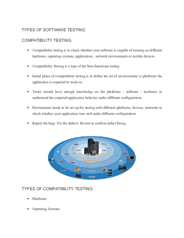 DOC) types of software testing COMPATIBILITY TESTING