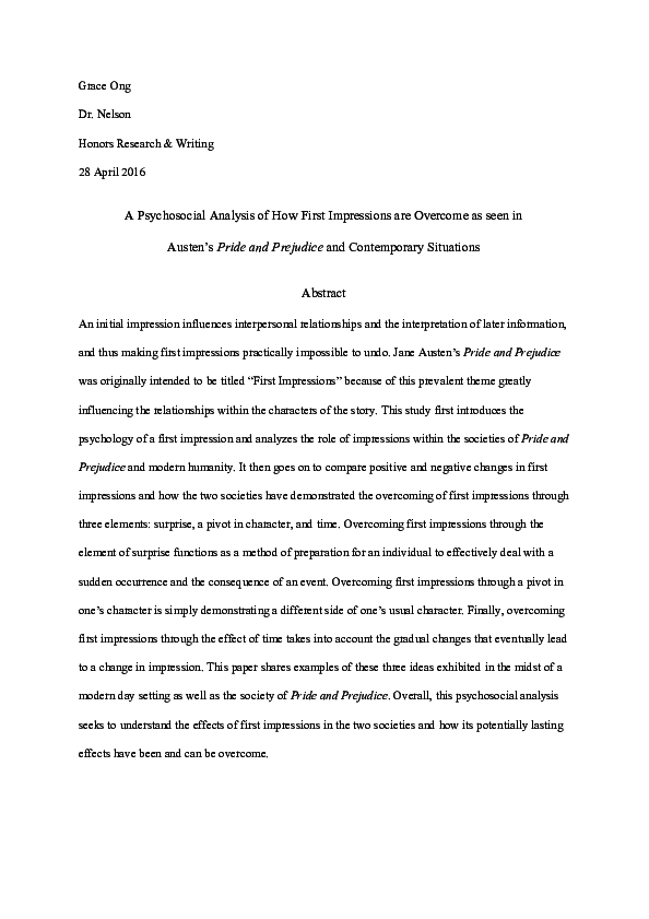 essay on first impressions in pride and prejudice