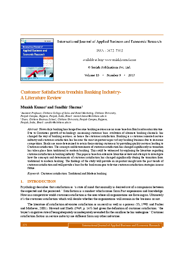 Review of literature on customer satisfaction in banking sector