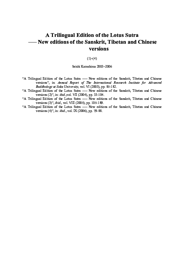 PDF) A Trilingual Edition of the Lotus Sutra ––– New editions of the