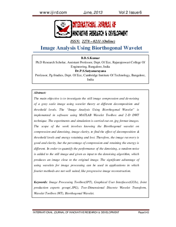 PDF) Biorthogonal on image | Vikrant Sahu - Academia edu