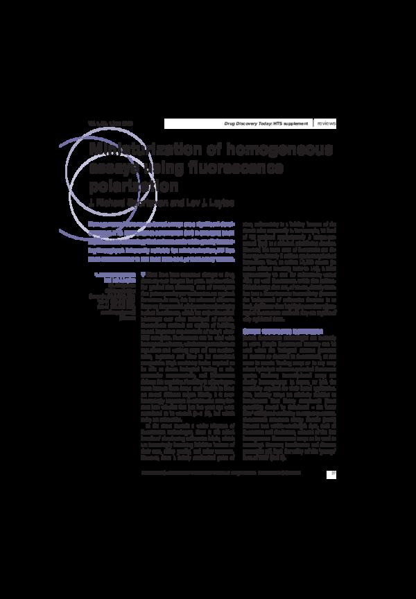 PDF) Miniaturization of homogeneous assays using fluorescence