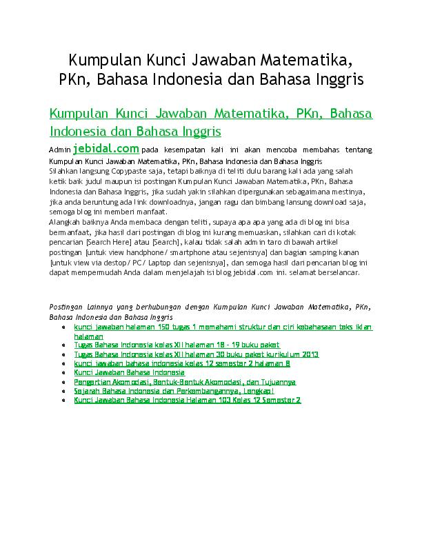 Doc Kumpulan Kunci Jawaban Matematika Pkn Bahasa Indonesia Dan Bahasa Inggris Jebidal Com Academia Edu