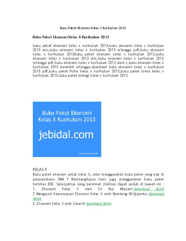 Doc Buku Paket Ekonomi Kelas X Kurikulum 2013 Jebidal Com Academia Edu