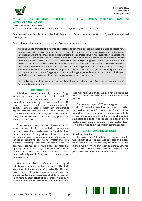 PDF) In vitro antimicrobial screening of cow urine-a