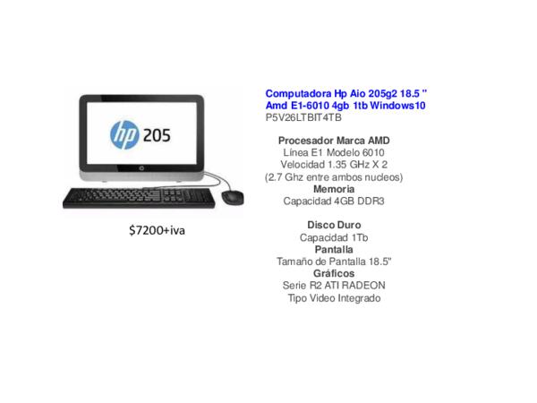 Pdf Computadora Hp Aio 205g2 18 5 Amd E1 6010 4gb 1tb Windows10 P5v26ltbit4tb Raul Torres Academia Edu