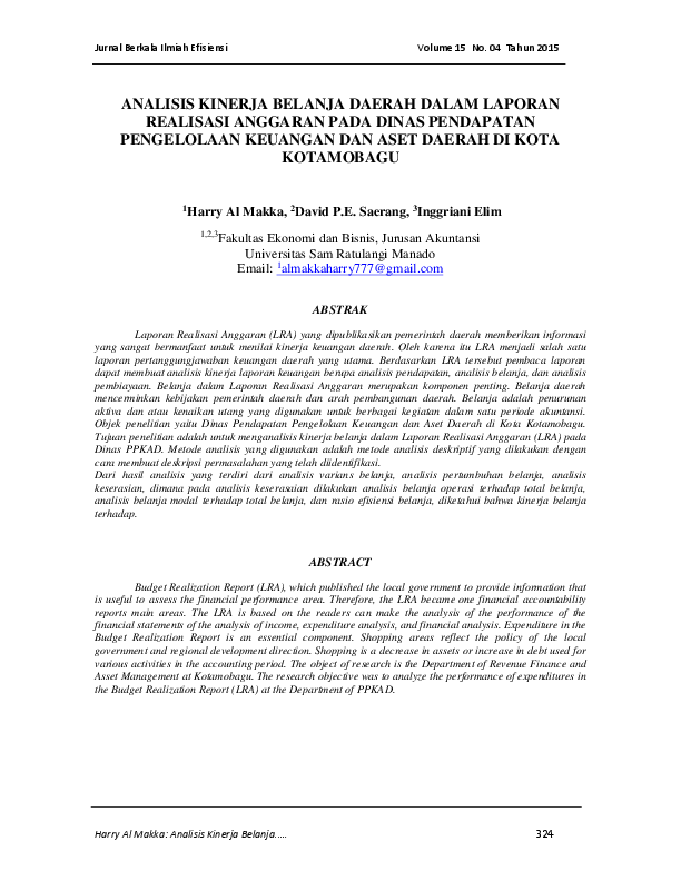 Pdf Analisis Kinerja Belanja Daerah Dalam Laporan Realisasi Anggaran Pada Dinas Pendapatan Pengelolaan Keuangan Dan Aset Daerah Di Kota Kotamobagu Bambusa Jaya Academia Edu