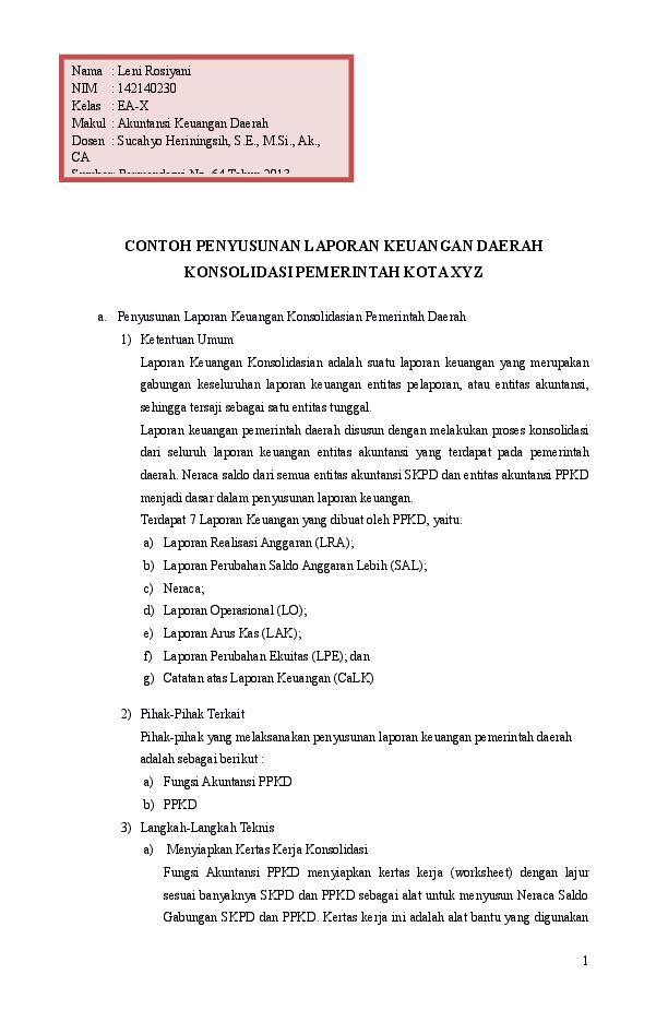 Doc Bab 12 Contoh Penyusunan Lk Daerah Konsolidasi Pemkot Xyz Leni Rosiyani Academia Edu