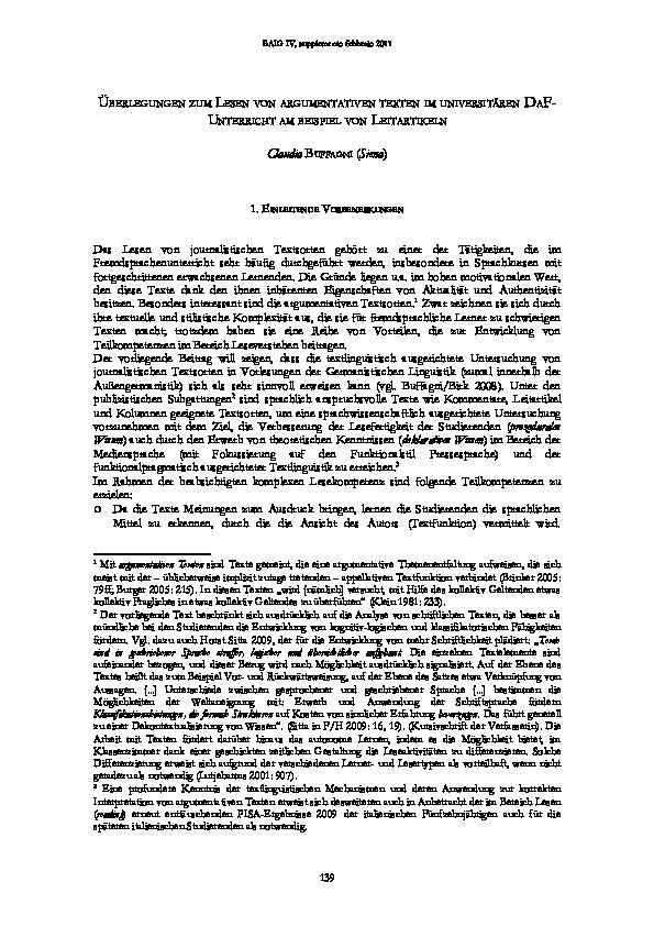 Pdf Uberlegungen Zum Lesen Von Argumentativen Texten Im Universitaren Daf Unterricht Am Beispiel Von Leitartikeln Claudia Buffagni Academia Edu