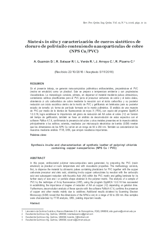 Pdf Síntesis In Situ Y Caracterización De Cueros Sintéticos
