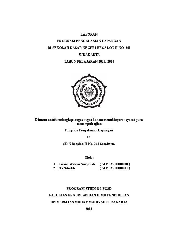 Doc Laporan Ppl Sd Ervina Wahyu Nurjanah Academia Edu