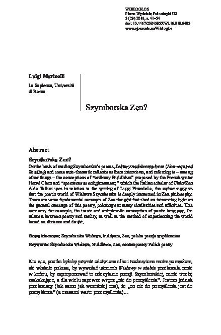 Pdf Szymborska Zen Luigi Marinelli Academiaedu