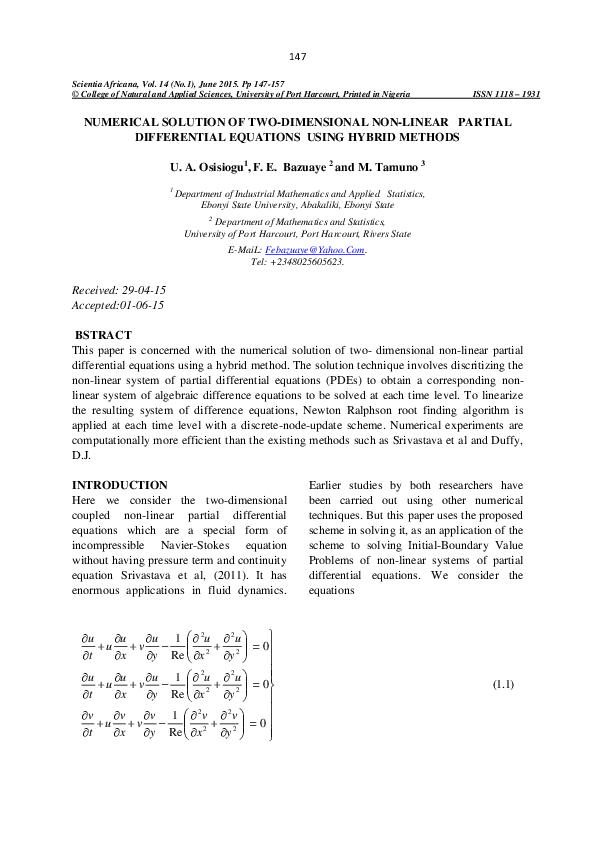 PDF) NUMERICAL SOLUTION OF TWO-DIMENSIONAL NON-LINEAR
