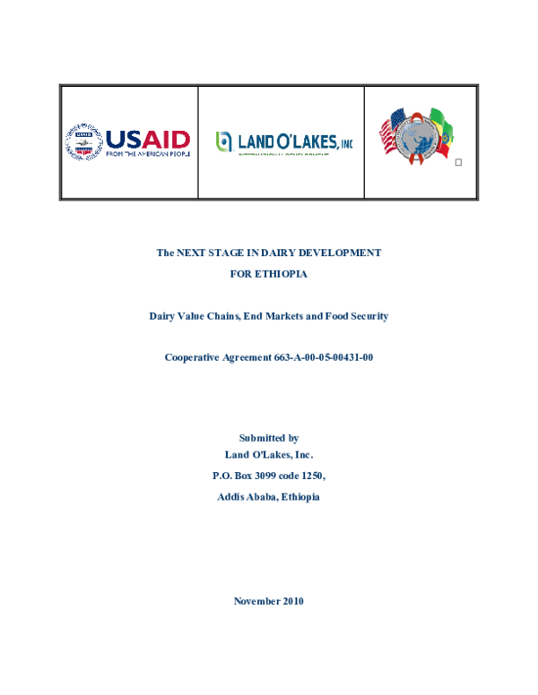 PDF) The NEXT STAGE IN DAIRY DEVELOPMENT FOR ETHIOPIA Dairy