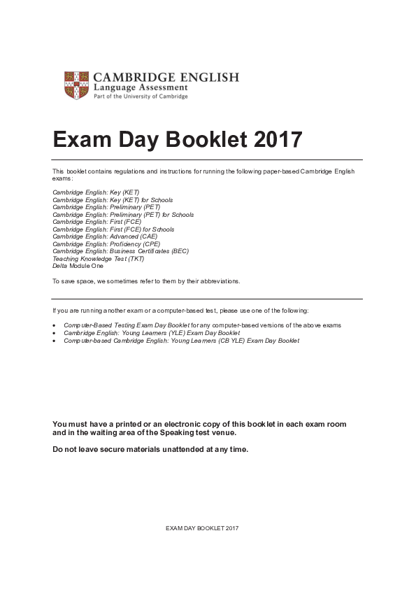 PDF) Exam Day Booklet 2017 | Еленка Галушка - Academia edu
