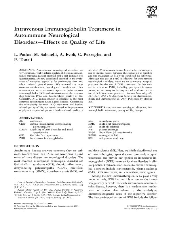 PDF) Intravenous Immunoglobulin Treatment in Autoimmune Neurological